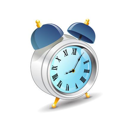 ヴィンテージ古いスタイル ブルー色と金属目覚まし時計セット分離ベクトル イラスト  イラスト・ベクター素材