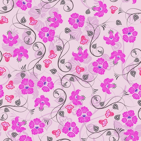 Seamless purple floral wallpaper