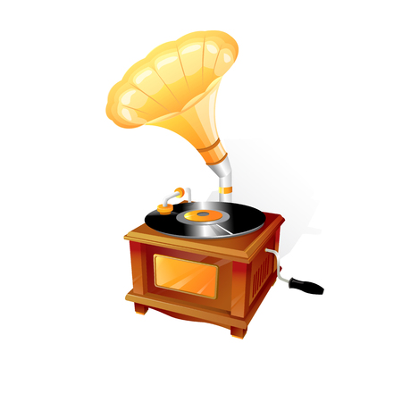 Vintage gramophone with recording disk. 3d Vector Illustration.