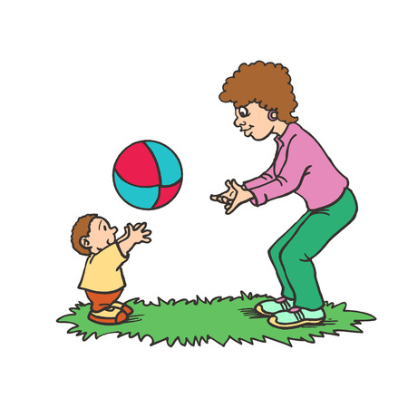 Illustration of a Mother Playing with ball Her Son. happy mothers day Illustration