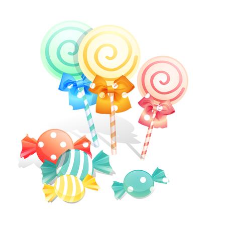 Illustration of isolated candies set on white background. Illustration