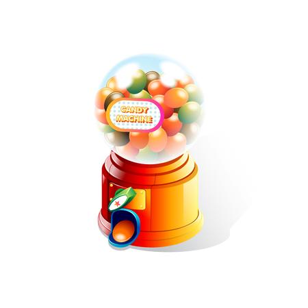 白い背景でキャンディ マシン  イラスト・ベクター素材