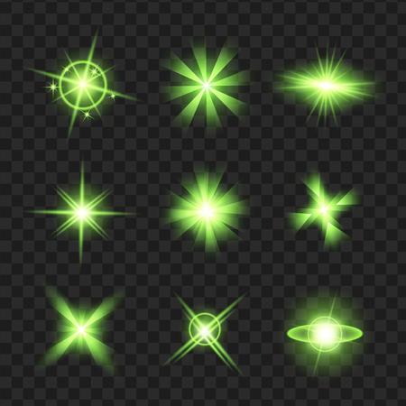 groene glans sterren met glitters, sparkles pictogrammen instellen. Effect twinkeling, verblinding, scintillatie-elementteken, grafisch licht. Transparante ontwerpelementen achtergrond. Gevarieerde sjabloon vectorillustratie Stock Illustratie