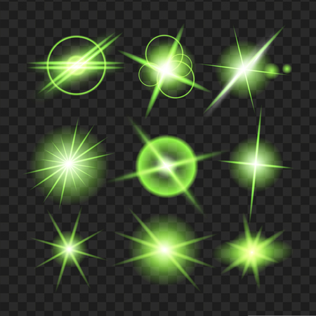 green shine stars with glitters, sparkles icons set. Effect twinkle, glare, scintillation element sign, graphic light. Transparent design elements background. Varied template Vector illustration