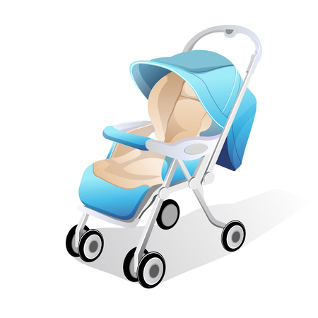 Baby carriage vector 3d illustration