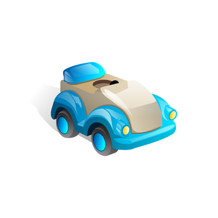 vector blue glossy car icon. toy car. kids background.