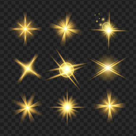 gele glans sterren met glitters, sparkles pictogrammen instellen. Effect twinkeling, verblinding, scintillatie-elementteken, grafisch licht. Transparante ontwerpelementen achtergrond. Gevarieerde sjabloon vectorillustratie Stock Illustratie