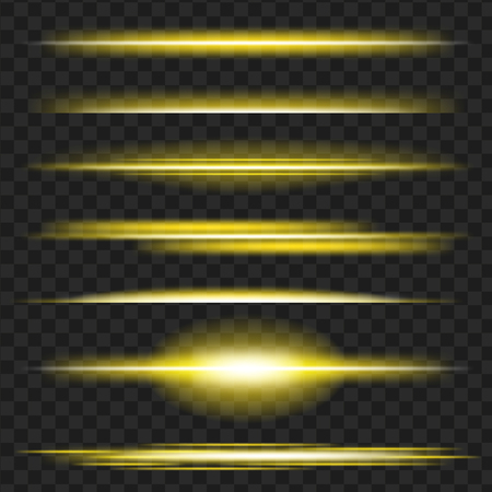 Set of yellow glowing light effect. Isolated on black transparent background. Vector illustration.