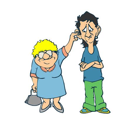 나쁜 소년과 할머니. 평면 디자인의 벡터 일러스트 일러스트