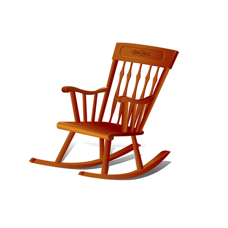 Illustration of a Rocking Chair. Isolated on White Background Vettoriali