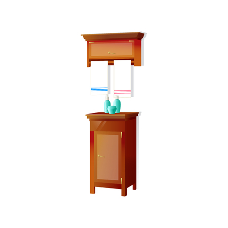 Vector bathroom cosmetic table with towel and bottles. 向量圖像