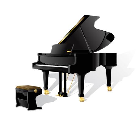 グランド ピアノ。白い背景上に分離。完全に編集可能なベクトル
