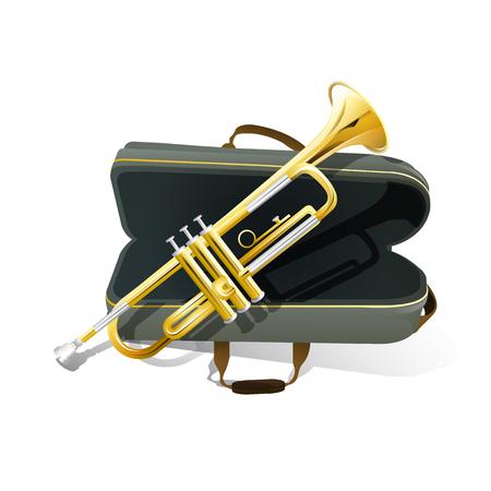 Brass trompet icoon. Filharmonisch orkest geïsoleerd vector pictogram Stock Illustratie