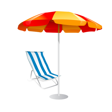 Parasol and deck chairs on white background