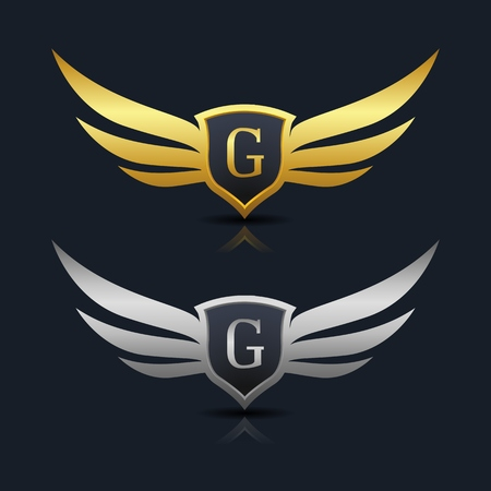 Wings Shield Letter G Logo Template