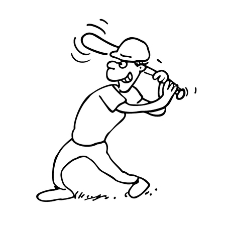 Schwarz Und Weiß Karikatur Illustration Von Funny Boy Baseball ...