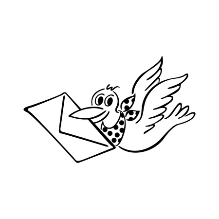 Cute bird delivering letter. outlined cartoon