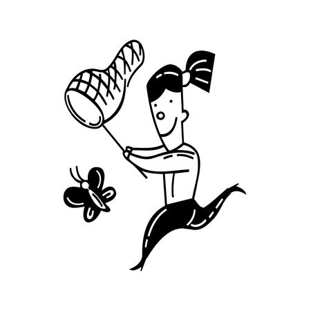 Cute little girl catching butterfly. outlined cartoon. drawing sketch illustration vector