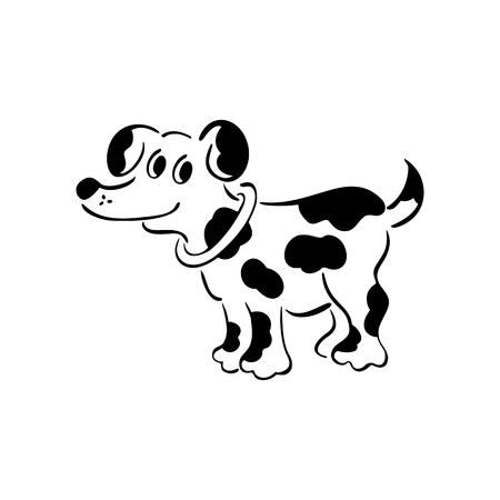 벡터 흑백 개입니다. 똑똑하고 사랑스러운 강아지. 윤곽이 귀여운 강아지입니다. 벡터 일러스트 레이 션.