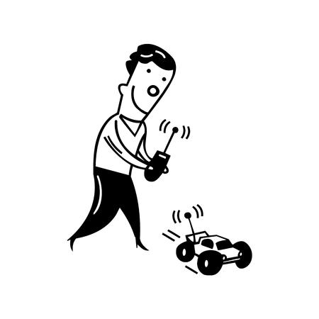 Jongen speelt met elektronische auto speelgoed. tekening schets illustratie vector Stock Illustratie