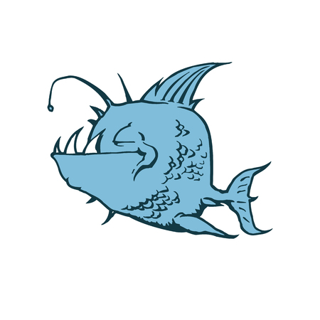Psycho Fish Piranha. Animal cartoon character Vector Illustration.