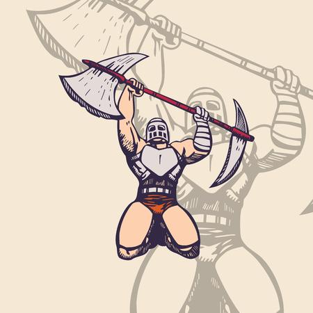 trojan army mascot. cartoon character Vector Illustration.