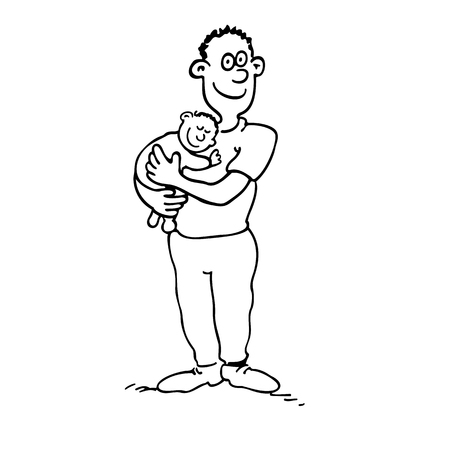 Happy dad is holding her babyboy. outlined cartoon drawing sketch illustration vector. Illustration