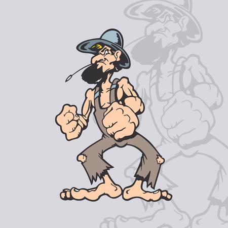 ホームレスの漫画のキャラクター。漫画の文字ベクトル図です。  イラスト・ベクター素材