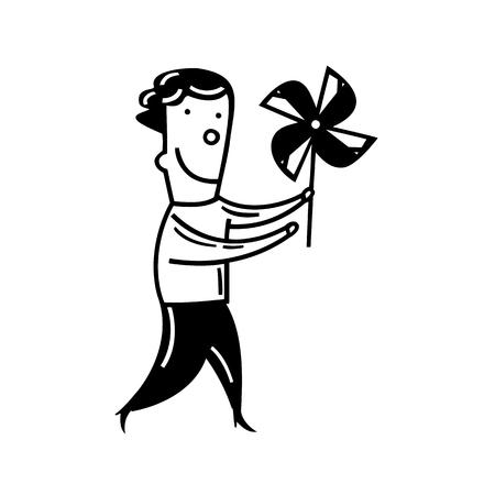 Jongen speelt fan speelgoed. geschetste cartoon tekening schets illustratie vector.