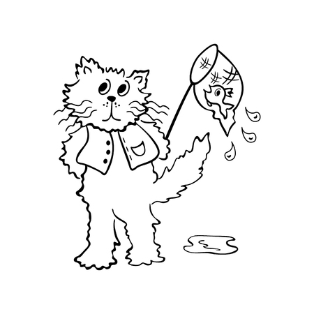 fishtank: cats looking for fish. outlined cartoon drawing sketch illustration vector.