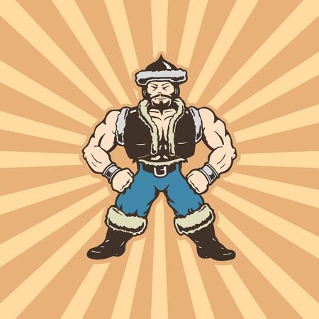 mongolian man cartoons character . cartoon character Vector Illustration. Çizim