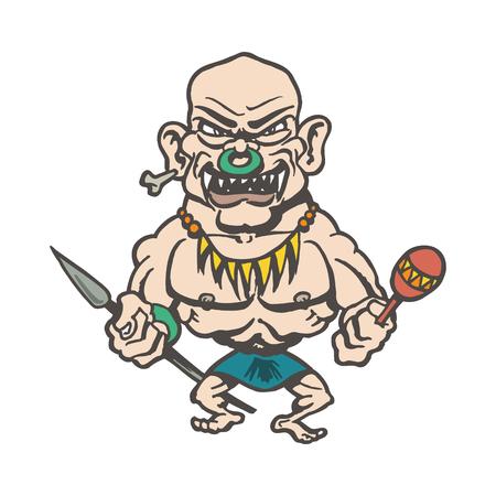 tribes of inland cartoons. Cartoon character Vector Illustration.