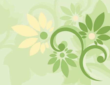 dusky: Seamless green floral wallpaper Illustration