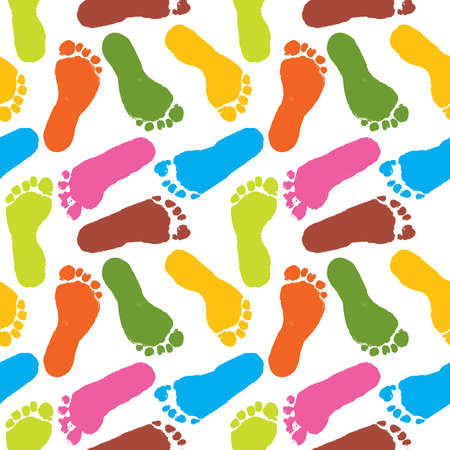 human paint footprints pattern colorful background