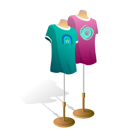 Eenvoudige t-shirt op mannequin torso sjabloon. Voor- en achteraanzicht.