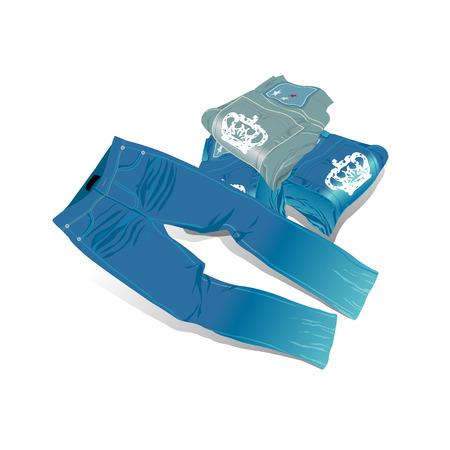 Jeans, pantalons, plié, illustration, vecteur Banque d'images - 80951412