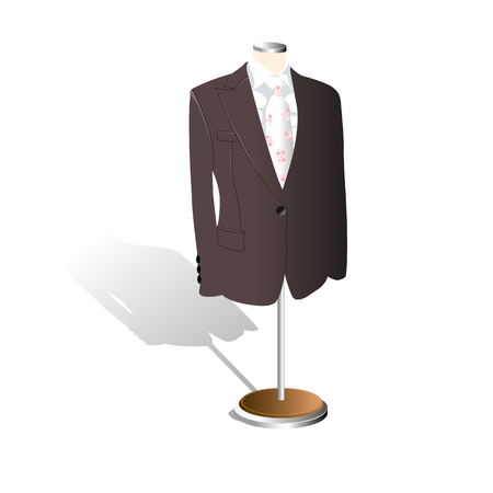 Men suit showcase store shop. illustration vector