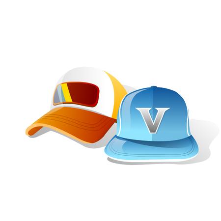 青い光のオレンジ キャップのベクトル図  イラスト・ベクター素材