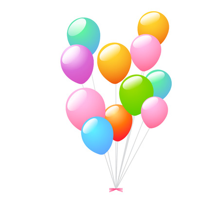 floating: 3d Realistic Colorful Bunch of Birthday Balloons Flying for Party and Celebrations With Space for Message Isolated in White Background. Vector Illustration
