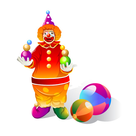 Clownspelen met balprestaties Stock Illustratie