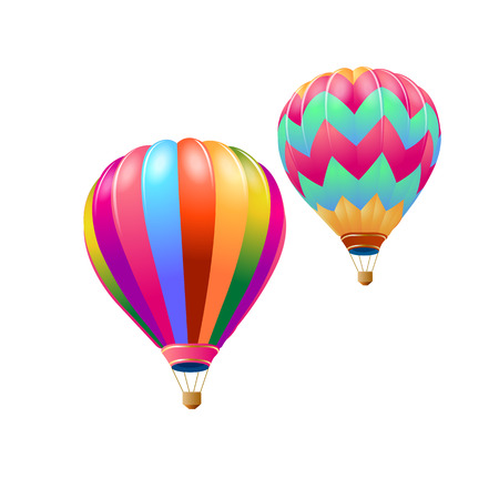 Colorful hot air balloons flying isolate on white background