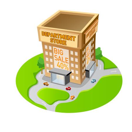Winkelsopslag en de vlakke decoratieve pictogrammen van supermarktgebouwen geplaatst geïsoleerde vectorillustratie