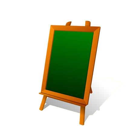 Little cartoon boy writes with chalk on a blackboard. Isolated vector illustration Illustration