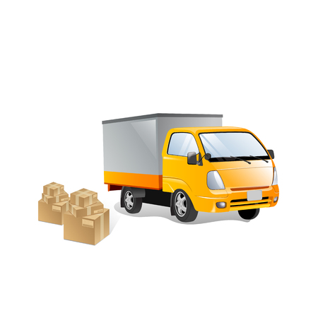 Red delivery van with shadow and cardboard boxes with fragile signs. Product goods shipping transport. Fast service truck Illustration