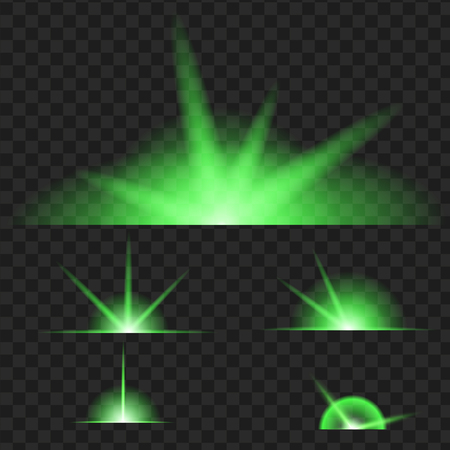 Set of green glowing light effect. Isolated on black transparent background. Vector illustration