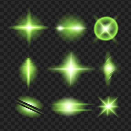 緑のきらめき、輝きアイコン セットと星します。きらめき、まぶしさ、シンチレーション要素サイン、グラフィック光を効果します。透明なデザイ  イラスト・ベクター素材