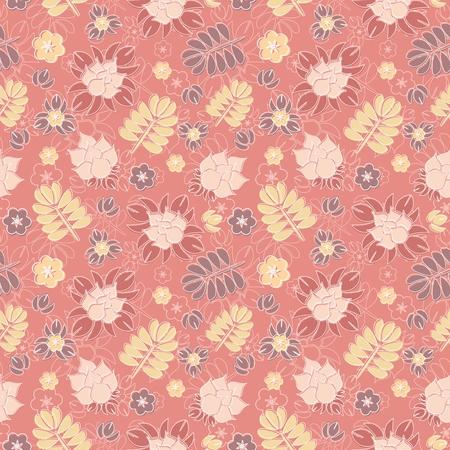 ロマンチックな花の背景のベクトルのシームレスなパターン。微妙なパステル調の色合いとエレガントな線形飾り。