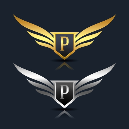 Wings Shield Letter P Logo Template Çizim