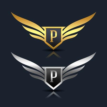 Wings Shield Letter P Logo Template Ilustrace
