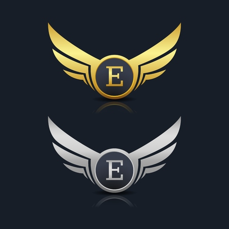 Wings Shield Letter E Logo Template